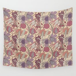 Seven Species Botanical Fruit and Grain in Mauve Tones Wall Tapestry