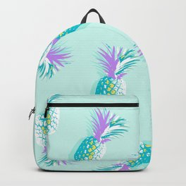 Tropical Pineapple Party Pattern - Aqua & Violet #Summervibes Backpack