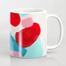 Fun Colorful Bright Abstract Shapes Mid Century Modern Patterns Blue Teal Red Pink Yellow Ochre Coffee Mug