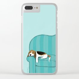Happy Couch Beagle Clear iPhone Case