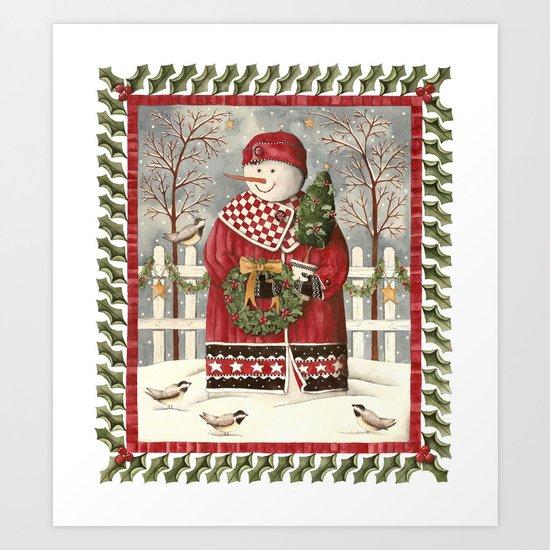 Holly Jolly Snowman Art Print