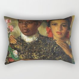 "African American Masterpiece ""Women Arranging a Bouquet of Flowers' by Jose Cruz Herrera Rectangular Pillow"