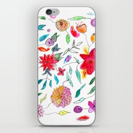 Floral vibes    watercolor iPhone Skin