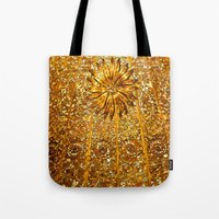 gold glitter Tote Bags featuring Glitter Gold by Saundra Myles