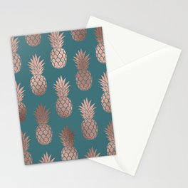 Modern Rose Gold Teal Green Pineapple Pattern Stationery Cards