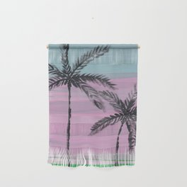 two palm trees sunset sky Wall Hanging