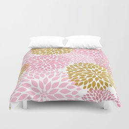 Pink and Gold Dahlias floral art Duvet Cover