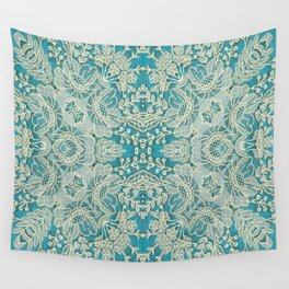 floral lace on blue Wall Tapestry