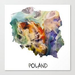 Map of Poland watercolor Canvas Print