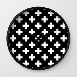 Black & White Plus Sign Pattern Wall Clock
