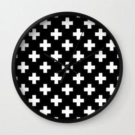 Black & White Plus Sign Pattern Wall Clock