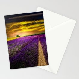 Sunset over Lavender Fields Landscape Painting by Jeanpaul Ferro Stationery Cards