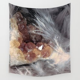 Citrine & Feathers Wall Tapestry