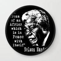 mandela Wall Clocks featuring Mandela by PsychoBudgie