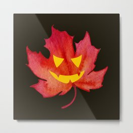 Jack-o-lantern face on Red Maple Leaf Metal Print