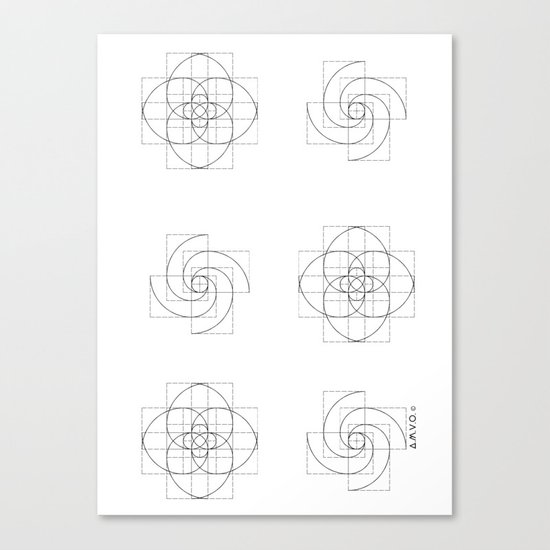 Fibonacci Flowers Pattern Canvas Print