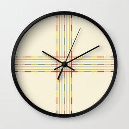 Fine Line Colorful Retro Cross Wall Clock