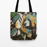 surrealism Tote Bags featuring surrealism by Judit Varga