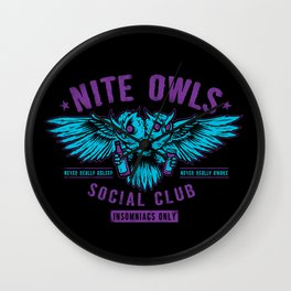 Nite Owls Social Club Wall Clock