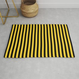 Yellow and Black Honey Bee Vertical Deck Chair Stripes Rug