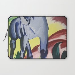 Blue Horse on a Colorful Background Laptop Sleeve