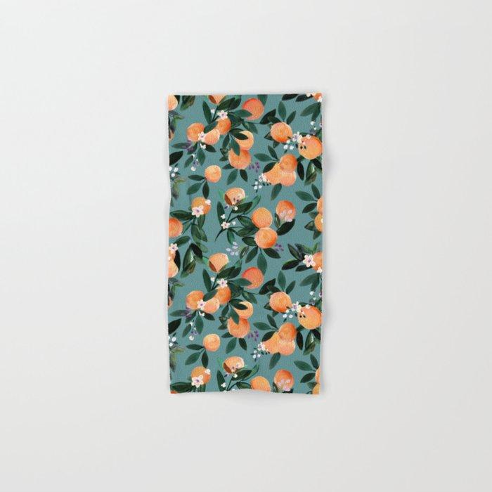 Dear Clementine - oranges teal by Crystal Walen Hand & Bath Towel