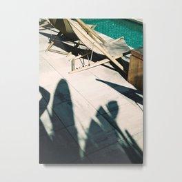 Poolside in Barcelona wanderlust photo print | Palmtree shadow play at summertime Metal Print