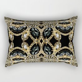 art deco jewelry bohemian champagne gold black rhinestone Rectangular Pillow