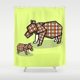 Origami Bear Shower Curtain