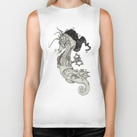 steam punk Biker Tanks featuring Steam Punk Horse  by FlyingFrogIllustration