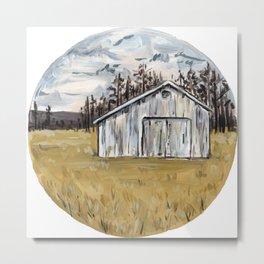 White Barn in Yellow Field Metal Print