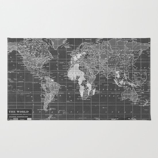 Black and White Vintage World Map Rug - Black And White Vintage World Map Rug By Catherine Holcombe Society6