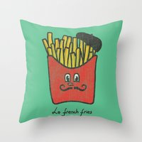 fries Throw Pillows featuring French Fries by Picomodi