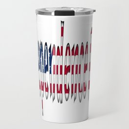 Independence Day American Flag Colors Typography Travel Mug