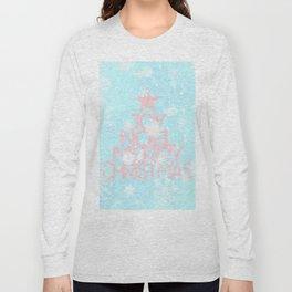 Joy, Noel, Merry Christmas and Star pattern - pink on aqua Long Sleeve T-shirt