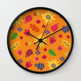 Bright Autumn Fall Leaves Flower Pattern Wall Clock