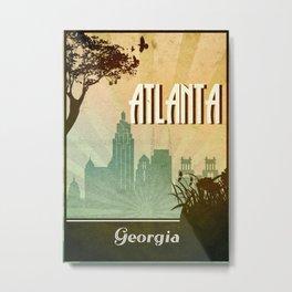 Atlanta Retro Poster Metal Print