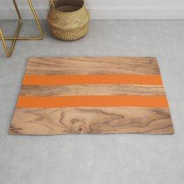 Striped Wood Grain Design - Orange #840 Rug