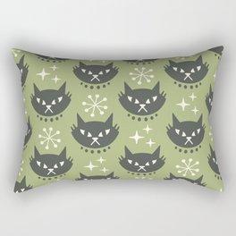 Retro Mid Century Modern Cat Pattern 323 Olive Green Rectangular Pillow
