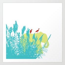 Pastel Symbiosis between Elephant and Bird Art Print