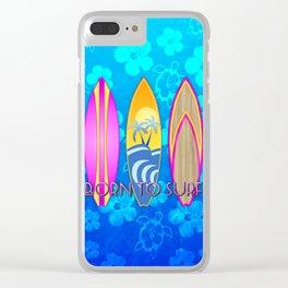 Born To Surf Blue Honu Clear iPhone Case
