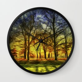 Greenwich Park London Sunset Art Wall Clock