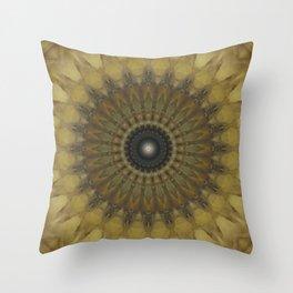 Mandala in golden tones Throw Pillow