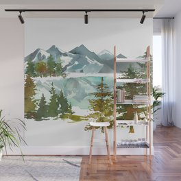 Forest green teal blue watercolor hand painted landscape Wall Mural