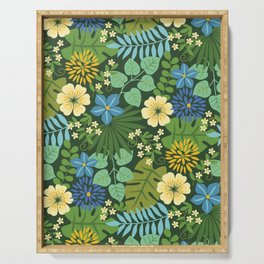 Tropical Blue and Yellow Floral Serving Tray