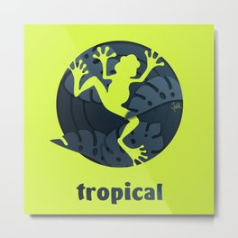 Tropical Frog Papercut Design Metal Print