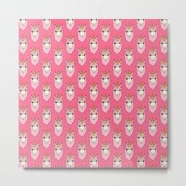 Llamacorn - doodle llama unicorn pattern in pink Metal Print