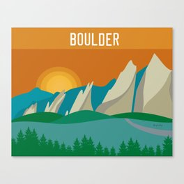 Boulder, Colorado - Skyline Illustration by Loose Petals Canvas Print