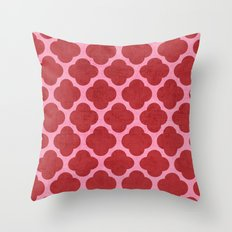 red and pink clover Throw Pillow