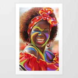 Life's a Carnival (Carnaval de Barranquilla) - Negrita Puloy Impressionism - Magical Realism Art Print